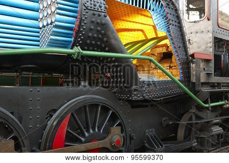 Steam Locomotive With Boiler Section Interior Detail And Pipes