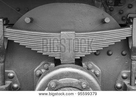 Antique Train Leaf Springs Detail In Black And White