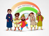 stock photo of indian independence day  - Illustration of different religion people showing their culture and unity in diversity on national flag colors and Ashoka Wheel decorated background for Indian Independence Day celebration - JPG
