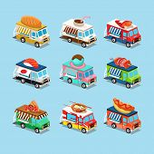 pic of ice-cream truck  - Vans with food in style an Isometric - JPG