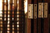 foto of wooden door  - Old door hinge on wooden door vintage style - JPG