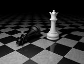 stock photo of chess pieces  - chess pieces on marble floor dark background with black and white chess queens - JPG