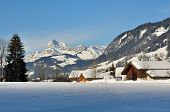 picture of chalet  - Wooden chalets in a village in the mountains covered with snow - JPG