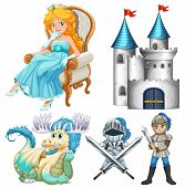 stock photo of woman dragon  - Set of fairy tales with knight and castle - JPG