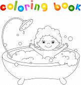picture of bathtime  - ?ute toddler bathing in the bath with foam and laughing. Coloring book. Vector illustration - JPG