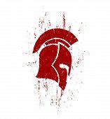 picture of spartan  - grunge spartan helmet in profile with texture - JPG