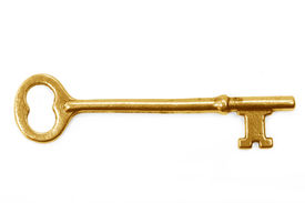 image of skeleton key  - gold key with white background concept of success - JPG