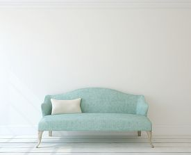 stock photo of couch  - Interior with modern blue couch near white wall - JPG