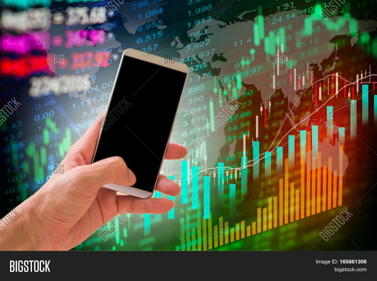 Hand hold smart phone on stock market and financial data – Stock Market Analysis Sample
