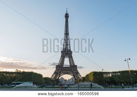 France. The well-known graceful Eiffel Tower in twilight
