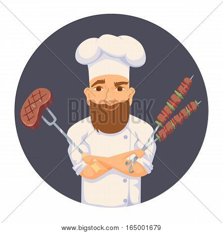 Chef cooking BBQ in restaurant or hotel kitchen. Cute cook in uniform holding barbecue meat steak and vegetable. Cartoon smile kitchener making food on picnic. Professional master catering service