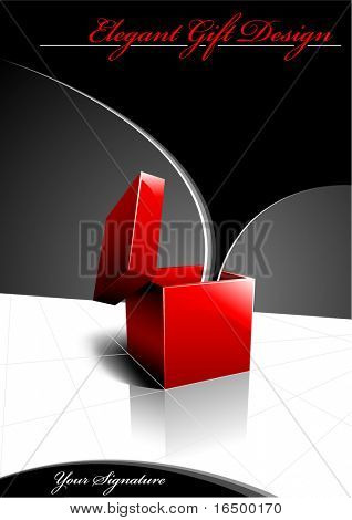 Elegant Gift Design - Shiny Red Present Opening For Your Text