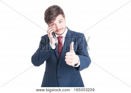 Business Man Talking At Phone Showing Like
