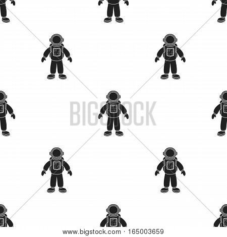 Astronaut icon in  black style isolated on white background. Space pattern vector illustration.
