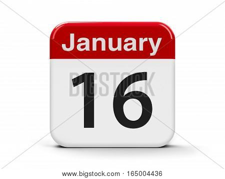 Calendar web button - The Sixteenth of January - Religious Freedom Day three-dimensional rendering 3D illustration