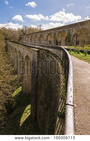 Chirk Aqueduct carrying the Shropshire Union canal built in 1805 by Thomas Telford and railway viaduct on the border of England and Wales