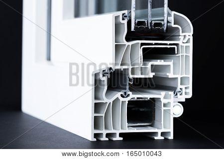 cut of pvc window profile, triple glazing structure, energy efficient solution