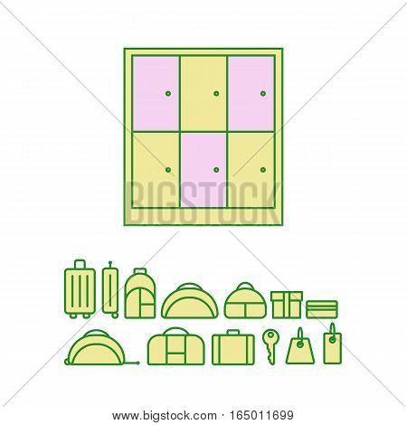 Baggage storage. Pointer With Luggage Suitcase Traveling Bag or Baggage Shop Sign Isolated on White Background.