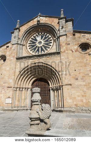 Avila (Castilla y Leon Spain): facade of the historic Santa Teresa church