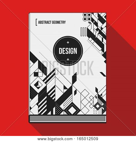 Book Cover Design Template With Abstract Geometric Elements. Style Of Modern Art And Graffiti.