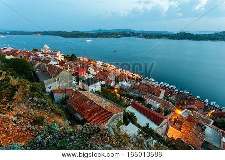 evening view on Cathedral of St. James and City of Sibenik, Croatia.