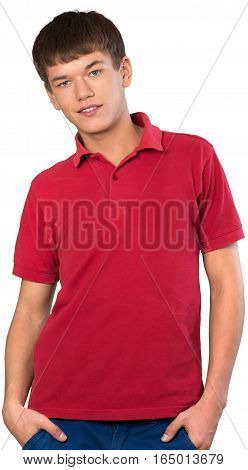 Teen male preppy shrugging with hands in pockets