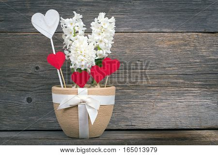 Flower and heart in a pot with a bow on the background boards