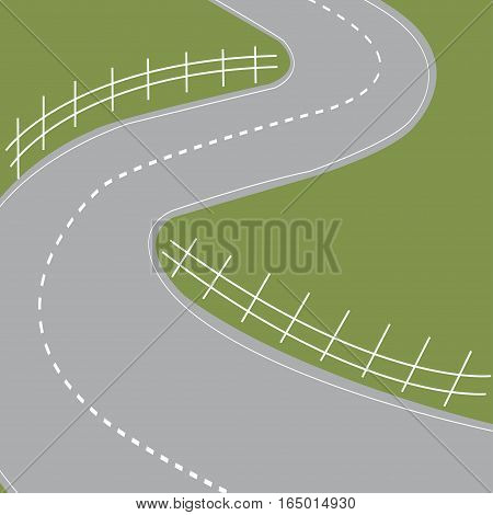 Highway road symbol with hairpin bends and fields - vector