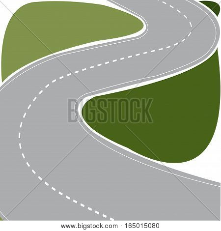 Highway curved road with a fence - vector