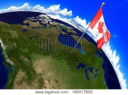 Canada national flag marking the country location on world map. 3D rendering, parts of this image furnished by NASA