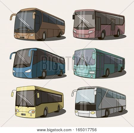Vector set of different bus or van icons. All vector objects are isolated. Vector illustration, EPS 10