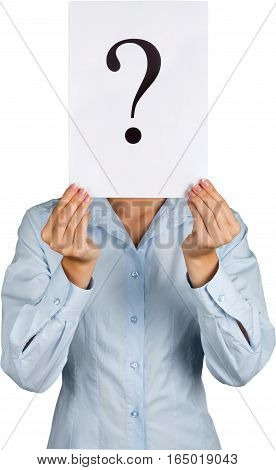 Portrait of a Businesswoman Holding a White Card with Question Mark on It