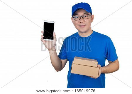 Asian Chinese Delivery Guy In Uniform Showing Mobile Phone