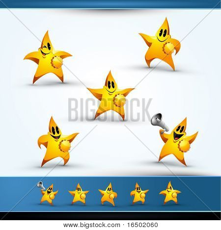 5 Star Character Icons, Pointing Left and Right, Smiling, Blinking, and Making Announcement in a Megaphone
