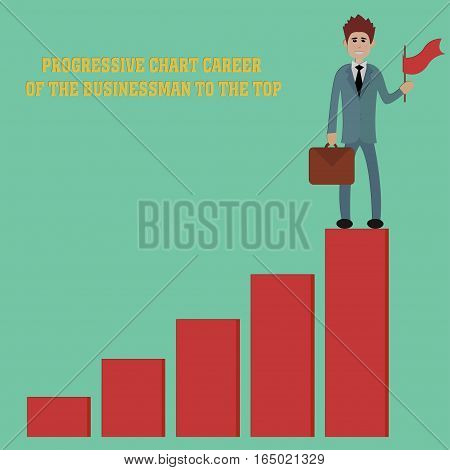 progressive chart career of the businessman to the top - vector