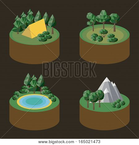 Set of isometric icons outdoor recreation with tent in the woods, forest, rocks, lake in the woods - vector