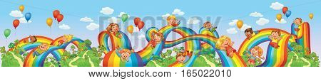 Children slide down on a rainbow. Roller coaster ride. Vector illustration. Seamless panorama