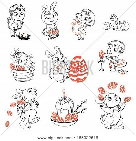 Happy Easter. Cute Easter bunny sitting in a basket, juggling with easter eggs, decorated Easter Egg. Little girl holding a large chocolate egg. Boy dressed in a bunny costume. Coloring book. Set