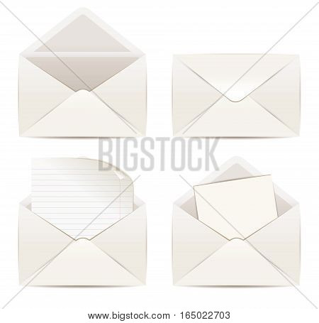 White envelope. Vector illustration eps 10. . Isolated on white background