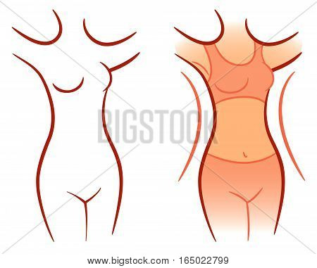 Girl showing how much weight she lost. Vector illustration. Isolated on white background