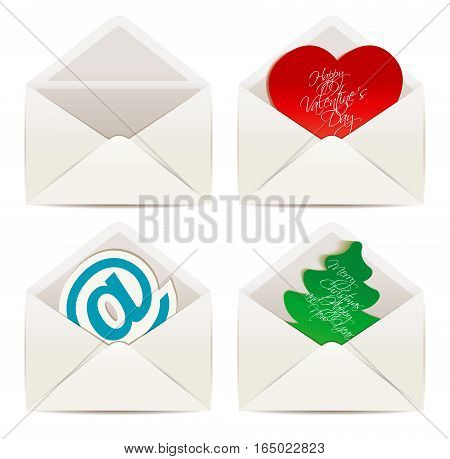 White envelope. The concept of Valentine's Day and Christmas. Vector illustration eps 10. White background