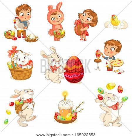 Happy Easter. Cute Easter bunny sitting in a basket, juggling with easter eggs, decorated Easter Egg. Little girl holding large chocolate egg. Boy dressed in a bunny costume. Vector illustration. Set