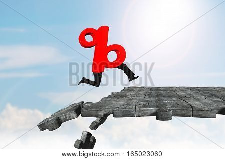 Percentage Sign With Human Legs Running On Breaking Puzzle Ground