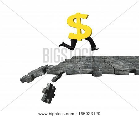 Dollar Sign With Human Legs Running On Breaking Puzzle Ground