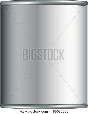 White tin can for instant coffee, cereal etc. Vector illustration for your design