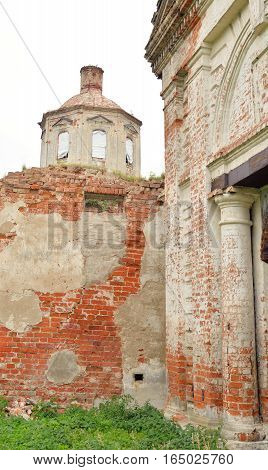 The destroyed Church of St. Nicholas in the village Priluki near Vologda Russia.