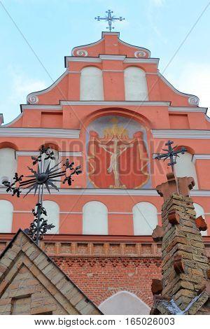 VILNIUS, LITHUANIA: Details of the external facade of the Bernardine Church