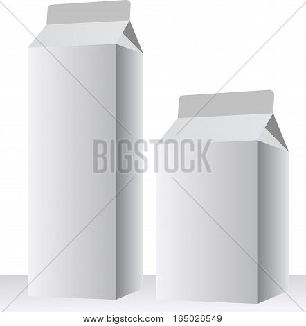 Two tetra pak isolated with shadows on blank background vector illustration. Ready For Your Design.
