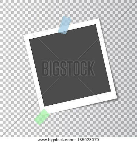 Photo frame retro instant with shadow on sticky tape on transparent background, vector template