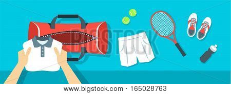 Fitness flat vector background. Man puts tennis stuff for training into sport bag. Top view horizontal banner. Polo shirt shorts sneakers tennis racket and balls. Healthy lifestyle concept.